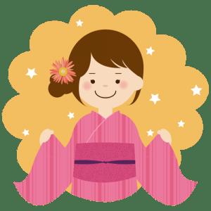 ピンクの浴衣を着る女の子のイラスト