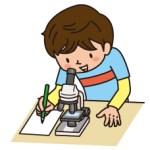 顕微鏡でスケッチをする男の子のイラスト