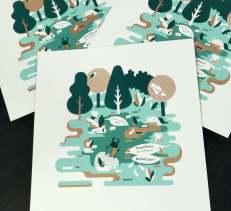 Ex-libris de l'album Sisyphe imprimé en sérigraphie