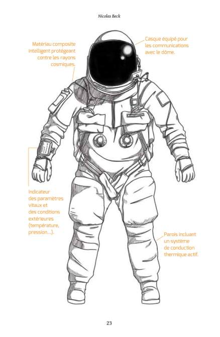 Image extraite de Nix Olympica et représentant l'équipement d'un astronaute