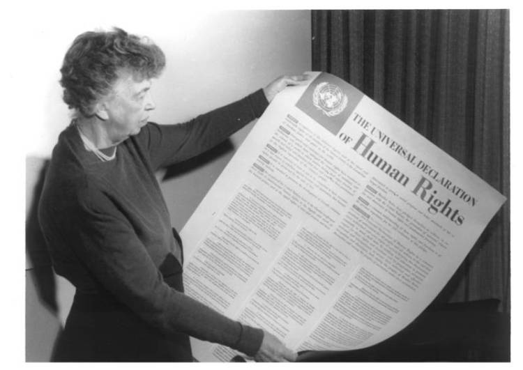 Eleanor Roosevelt with the English-language text of the Universal Declaration of Human Rights, 1948, Public domain