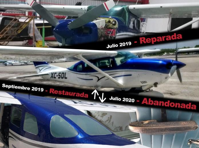 Abandona Laura Beristain avioneta reparada