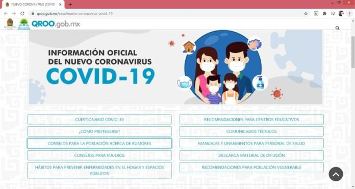 Lanza gobierno de Quintana Roo el portal Covid-19