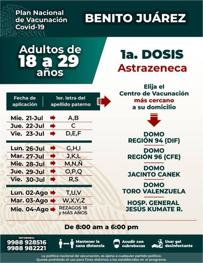 Inicia mañana vacunación de más de 18 años en Cancún
