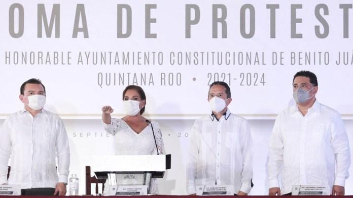 Toma Mara Lezama protesta cobijada por Morena