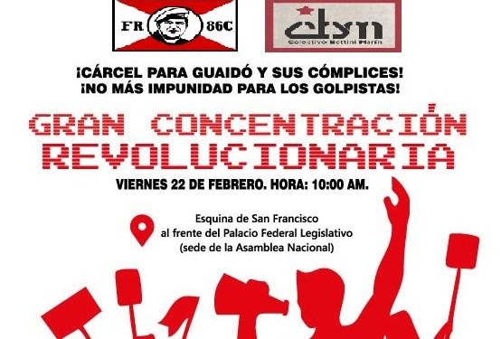 [Convocatoria] Concentración en repudio al golpe de estado imperialista, la provocación belicista y la desestabilización interna