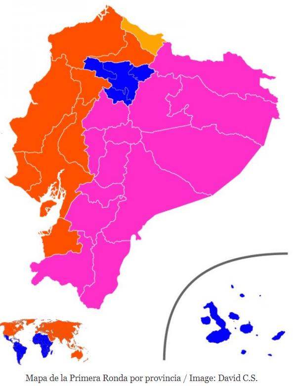mapa de la primera ronda por provincia elecciones Ecuador abr 21
