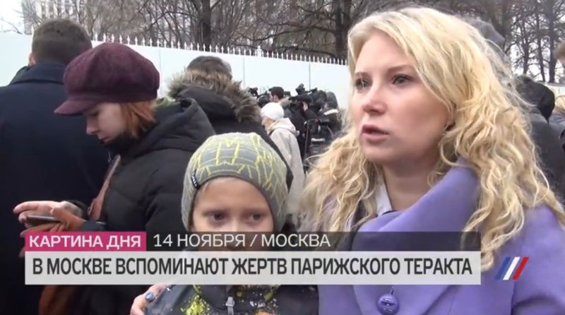 Russian language practice from the contemporary Russian media - mourners at Moscow's French embassy