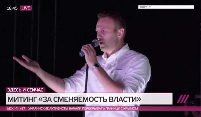 Russian language practice from the contemporary Russian media - Navalny at rally in Marino