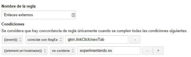 regla enlaces externos tag manager outbound link