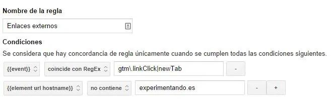 regla enlaces externos tag manager outbound link