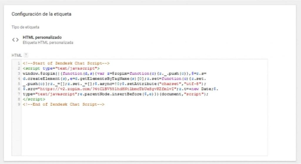 Zopim Live Chat: Etiqueta HTML en GTM