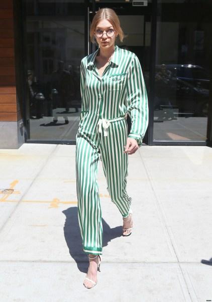Image result for gigi hadid pyjama outfit