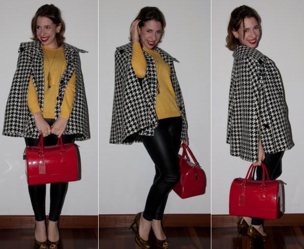look do dia: como usar pied de poule. como misturar vermelho com amarelo. Legging, sapato arezzo e bolsa furla no blog de moda