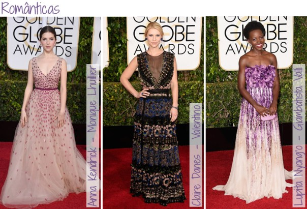 Looks do Red Carpet Golden Globes - Vestidos Românticos