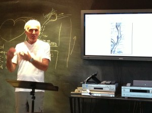 Phil Brewer presenting a health lecture