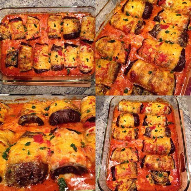Ricota stuffed eggplant rolls
