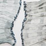 Crêpegewebe - gefächert, Seide, Wollcrêpe, Stahl, ca. 0,20 x 2,10 m