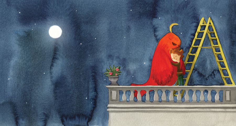 Boy and bird hugging in a balcony at night, the moon in the sky - Niño y pajaro se abrazan en un balcon a la noche, la luna en el cielo