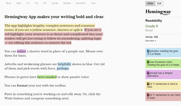 hemingway app is a text editor to make your writing easier to read