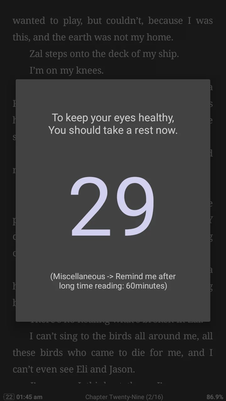 Eye rest reminder in moon+ reader