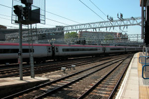 Rail tracks by a platform