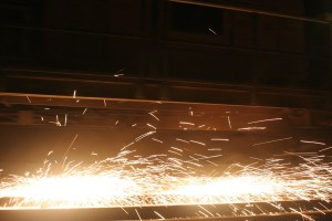 Sparks flying from a grinder