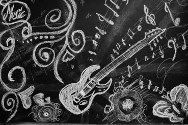 Music Chalk on black paper