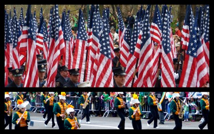The USA flag on st patty's day