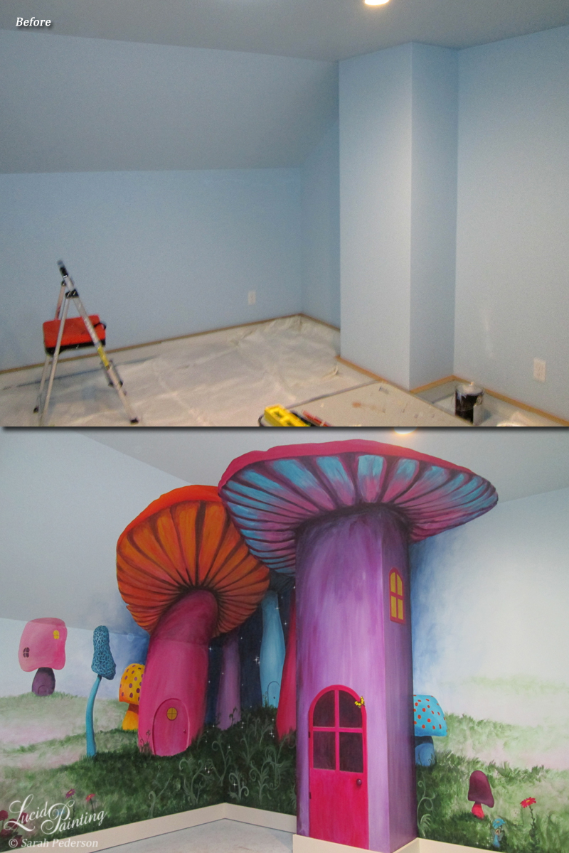 Bright, jewel toned mushrooms reach from floor to ceiling on 7.5' high walls. Fuscia, teal, pinks and purple mushrooms are painted very large in one corner, and then much smaller versions are repeated throughout the play room.