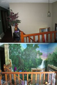 Faux bricks, large trees, waterfalls, and fantasy mushrooms fill the walls in this stairwell. The careful use of perspective and shading make the wall look realistic and 3-D. Two small fairies and sparkling lights tie the fantasy theme together.