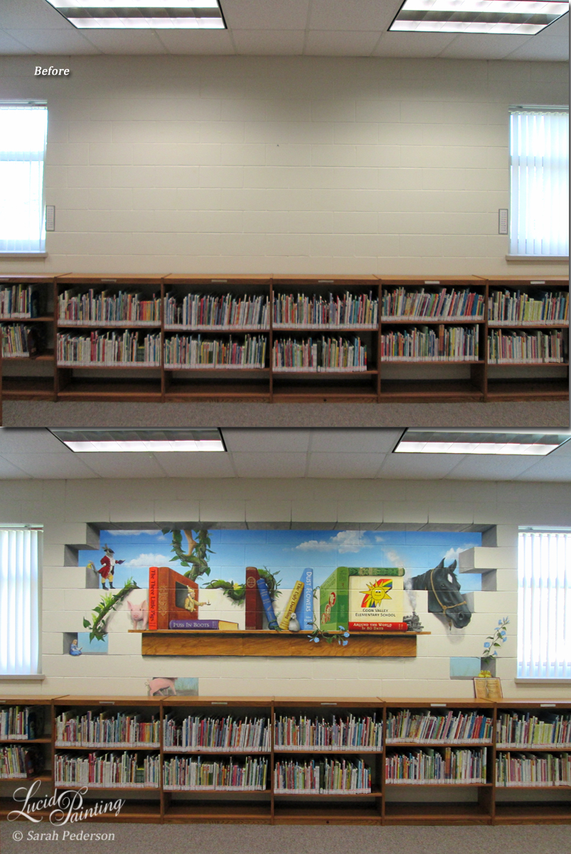 Black Beauty, The Three Little Pigs, A Christmas Story, The Jungle Book, and Puss in Boots are just a few of the books that come to life in this school library mural. The block wall is painted to look like it is broken away, revealing a beautiful blue sky in the background.