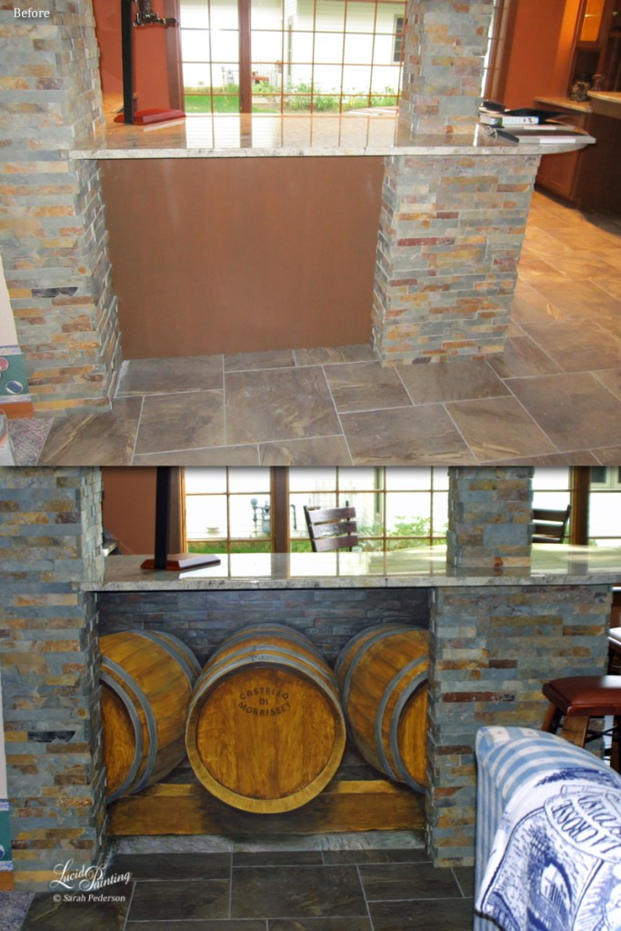 Image of wall below countertop that was transformed from a walnut finish to three life-sized wine barrels that are painted with perspective to look like they are stored under the counter. Mural, before and after photo.