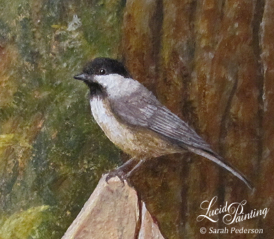 Black Capped Chickadee standing on a fence. This is the first bird Sarah ever painted.