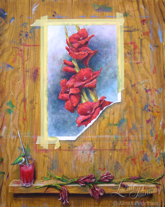 The background is painted to look like an artist easel. A painting appears to be attached to the front with tape and a ledge near the bottom holds a wilting gladiolus that was used as reference for the artwork. A glass of water filled with red paint sits on the ledge with a paintbrush in it, and a ruby throated hummingbird sits on the glass. A praying mantis faces the bird, using the glad as camouflage. Fine art on canvas.