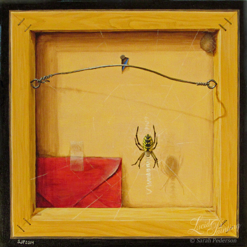 Front of canvas painted to look like the back of a gallery wrapped canvas. An orb weaver spider made a web on the back and a red envelope is tucked into the back behind the web. An egg sac is in the upper right corner. Fine art on canvas.