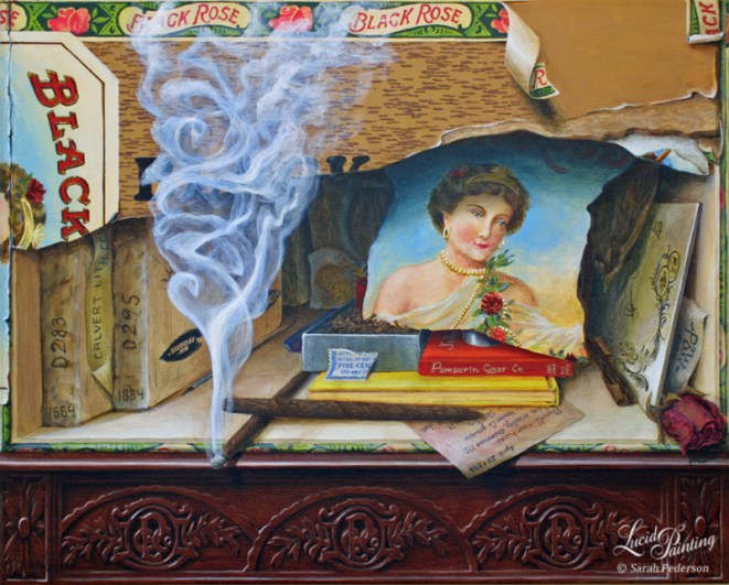 This canvas portrays the numerous historical elements of the Black Rose Cigar Box which was created by the Pamperin Cigar Company in La Crosse, WI in the late 1800s and early 1900s.
