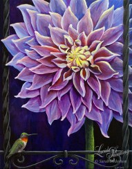A large purple dahlia fills the painting and is cut off on the top and right side because of its size. Both sides show a wrought iron fence. this fence is decorative along the bottom and a ruby throated hummingbird sits below the flower.
