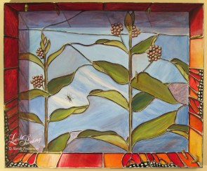This painting is faux stained glass with milkweed plants depicted in bloom in the center and monarch butterfly wings along the edges. Numerous monarch caterpillars and chrysalis fill the painting and an ichneumon wasp sits on the glass near the center.