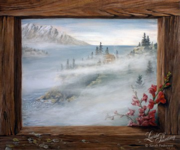 Faux wood frame with lichen surrounding an ocean scene with fog and mountains in the distance. Dragon snap flowers come out from the painting and overlap the faux frame.
