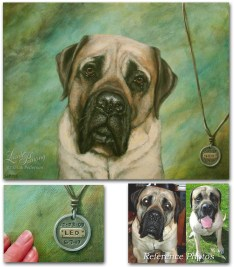 "Mastiff dog looking straight at viewer, Painted trompe l'oeil pendant appears to hang over the corner of the canvas and is ""engraved"" with Leo's date of birth and death."