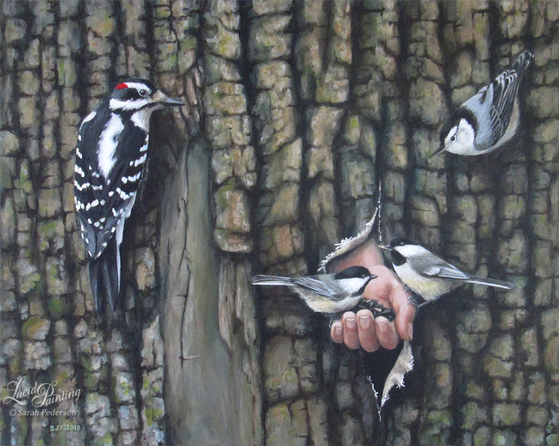 The canvas is painted to look like tree bark in very high detail. A hairy woodpecker and nuthatch cling to the bark, looking at two chickadees who are sitting on a hand eating sunflower seeds. The hand is coming out of the tree, through a tear in the canvas. Fine Art on Canvas