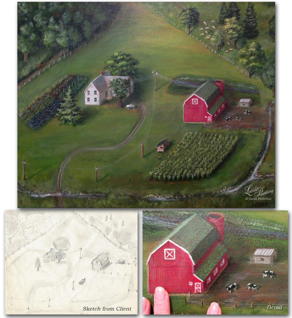 Painting created from a sketch drawn by my client of a farm that no longer exists near DeSoto, WI. Fine Art on Canvas.