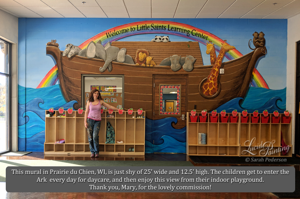 A large white wall for a private school daycare is transformed into a large ark filled with animals. Bunny rabbits, zebras, elephants, lions, hippos, pandas, lizards, giraffes, and monkeys fill the stylized ark. A large rainbow fills the background, and teal and blue waves fill the foreground. Shadows are added to make all elements stand out from the wall and from each other.