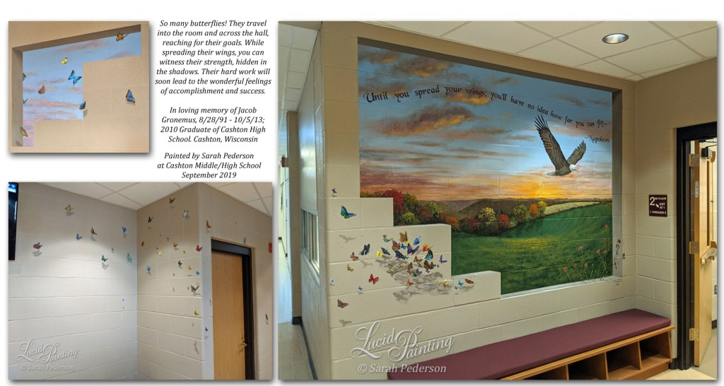 Over 100 butterflies travel across the hallway at Cashton High School, entering the room from a trompe l'oeil window toward a window on another wall. This mural is in memory of Jacob Gronemus, and includes symbols with special meaning to his family.  A bald eagle soars into the distance, its shadow on the wall created by a mass of butterflies. An Allis Chalmers tractor sits in a hay field at sunset, with a farm in the distance.