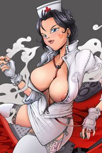A dark-haired woman in an unzipped nurse's uniform exposes her large, pale breasts.