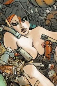 A naked dazed woman surrounded by metal containers.
