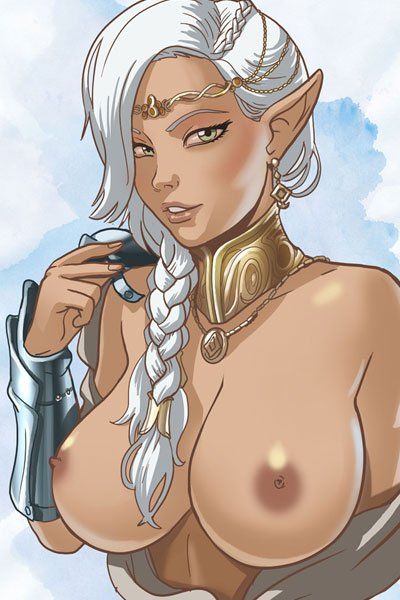A naked elf woman with white hair and large breasts.