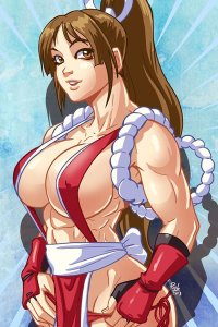 A muscular Mai Shiranui adjusts her panties.