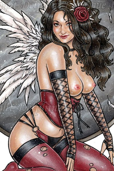 A dark-haired woman with white wings in a short red corset sits.